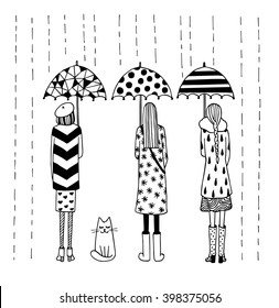 Funny vector black and white illustration. Rain in the city. Girls under umbrellas and cat.