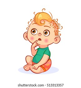 Funny vector cartoon baby with a pensive expression on his face. Cutout thinking infant character for your design.