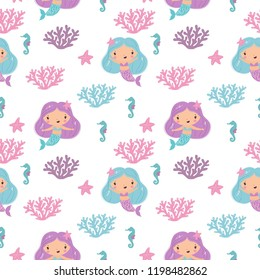 Funny Vector cartoon character cute mermaids and sea plants. Summer clipart with mermaid girls.  little mermaid party. Seamless pattern