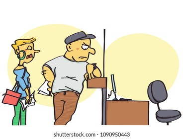 Funny vector cartoon of clients waiting for the missing clerk at the office counter, rude and unprofessional behavior at work