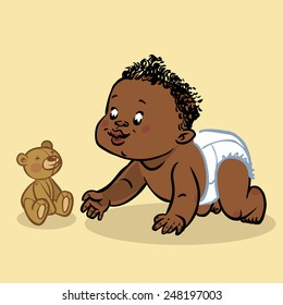 Funny vector cartoon colorfull crawling black baby and teddy-bear isolated background