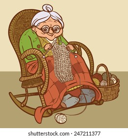 Funny vector cartoon  Grandmother knits a scarf