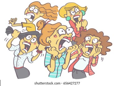 Image result for a group of women running away cartoon