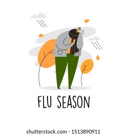 Funny vector cartoon illustration of man with bad cough. Flu season