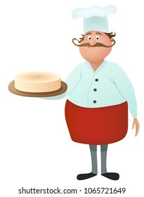 Funny vector cartoon male character confectioner with a mustache, red apron and white toque. Cute cook, bakery chef holding a cheesecake pie on a plate. Professional master. vector illustration