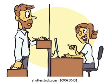 Funny vector cartoon of office clerk flirting and joking with client, unprofessional behavior at work