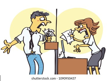 Funny vector cartoon of office clerk arguing with client, unprofessional behavior at work