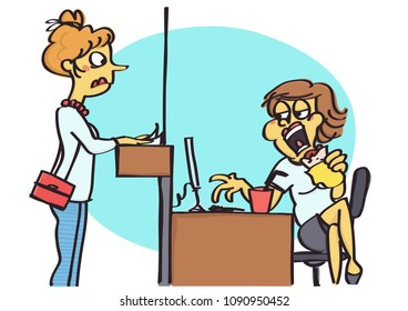 Funny vector cartoon of office counter clerk eating a sandwich in front of the client, bad behavior at work