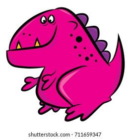 Funny vector cartoon pink dinosaur on a white field.