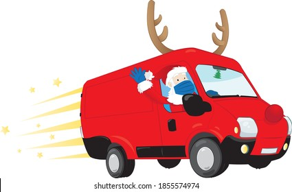 a funny vector cartoon representing Santa Claus driving a red van carrying presents and wearing a surgical mask. Christmas 2020 anti-Covid concept