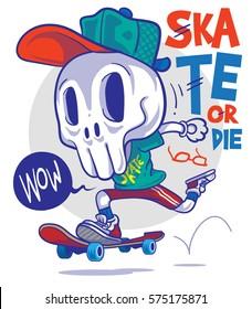 Funny Vector Cartoon Skull and Skateboard