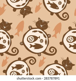 Funny vector cat pattern. Sleeping  funny fat cat. Happy cat silhouette.