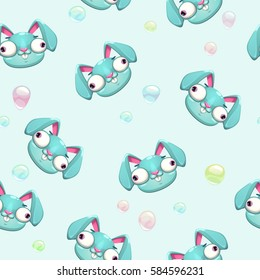 Funny vector childish seamless pattern with crazy bunny faces. Comic texture.