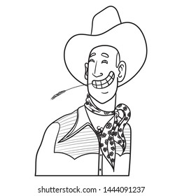 funny vector comic illustration of a cowboy with cowboy hat. The man laughs and has grass in his mouth. western, fashion, cartoon, scarf, neckerchief, wild west, outline, doodle, drawing.