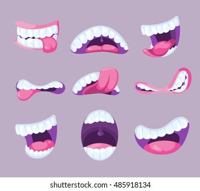 Funny vector comic mouths expressing different emotions. Fun pharynx with tooth and pink tongue illustration