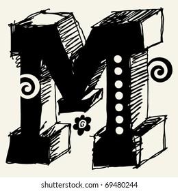 funny vector contre-jour ABC, hand drawn letter M