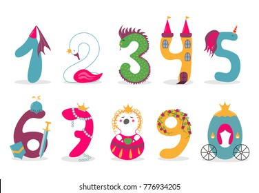 Funny Vector Cute Princess Numbers Colorful Numbers For Kindergarten And School Decorations And Education