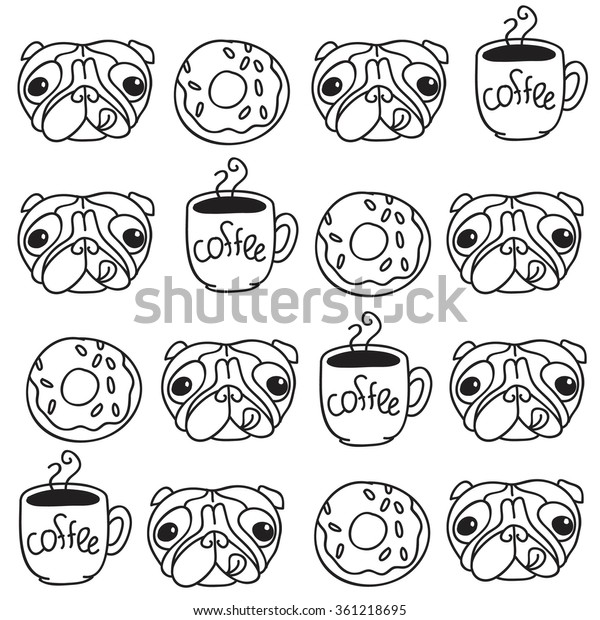 Funny Vector Dogs Pug Puppies Pattern Stock Vector (Royalty Free