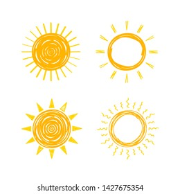 Funny vector doodle suns. Hand drawn set. Vector stock illustration.