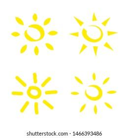 Funny vector doodle suns. Template. Frendly atmosphere. Hand drawn set. Stock vector illustration
