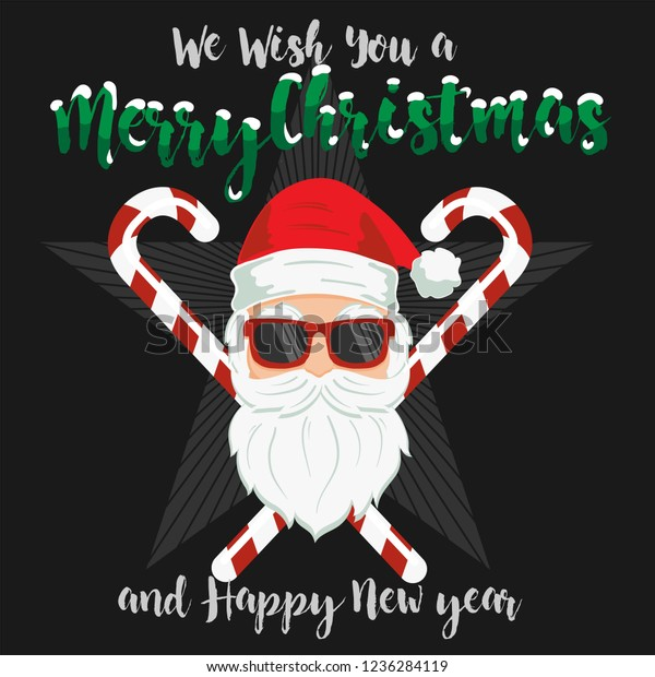 Funny Merry Christmas.Funny Vector Element Merry Christmas Lettering Stock Vector