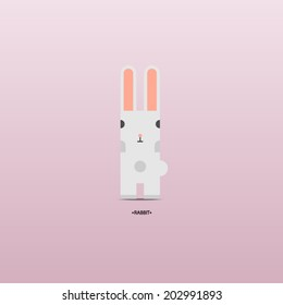 Funny Vector Flat Rabbit, Abstract Illustration