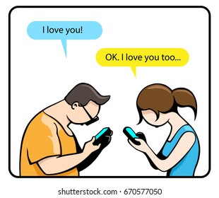Funny Vector Illustration about Modern Relationship: Man and Woman Sitting Together and Texting Each Other about his Love