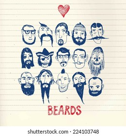 Funny vector illustration with beards and different people on paper background.  Isolated editable objects.