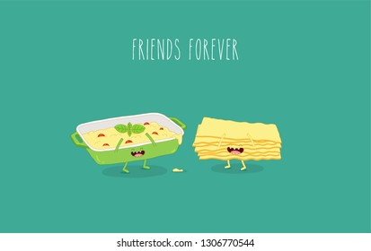 Funny vector illustration of cooked lasagna lasagna and lasagna sheets. You can use for cards, fridge magnets, stickers, posters or restaurant menu.