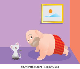 Funny vector illustration of fat bald man doing excercising. Concept of Strong healthy fat man. cartoon