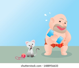 Funny vector illustration of fat bald man doing excercising with dumbbells. Concept of Strong healthy fat man. cartoon