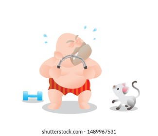 Funny vector illustration of fat bald man doing excercising with Power Twister Bar. Concept of Strong healthy fat man. cartoon