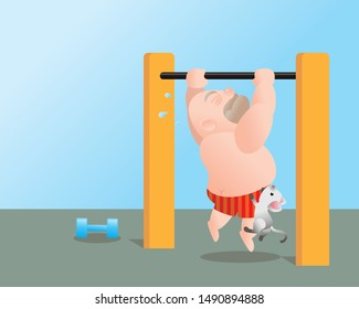 Funny vector illustration of fat bald man doing excercising. Work out on the horizontal bar. Concept of Strong healthy fat man. cartoon