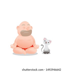 Funny vector illustration of fat bald man doing meditation. Concept of Strong healthy fat man. cartoon