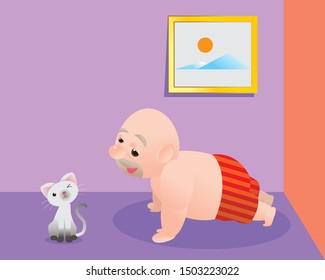 Funny vector illustration of fat bald man doing excercising and get fill better. Concept of Strong healthy fat man. cartoon