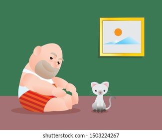 Funny vector illustration of fat bald man doing sit up excercising. Poor man lift  his torso up try to touch his foot. Concept of Strong healthy fat man. feel better cartoon