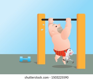 Funny vector illustration of fat bald man doing excercising get feel better. Work out on the horizontal bar. Concept of Strong healthy fat man. cartoon