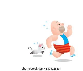Funny vector illustration of fat bald man running excercising. Concept of Strong healthy fat man. cartoon relax running feel better.