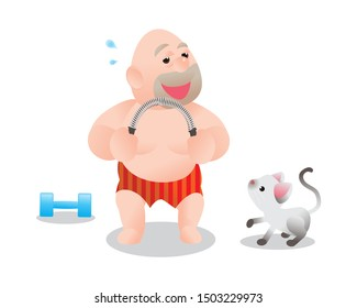 Funny vector illustration of fat bald man doing excercising with Power Twister Bar. Concept of Strong healthy fat man. cartoon get feel better smile