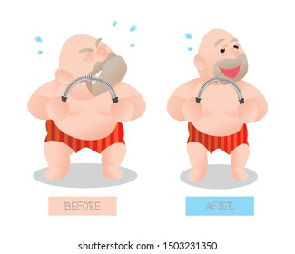 Funny vector illustration of fat bald man doing excercising with Power Twister Bar. compare before and after. Concept of Strong healthy fat man. cartoon