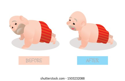 Funny vector illustration of fat bald man doing excercising. Concept of Strong healthy fat man. cartoon compare before and after