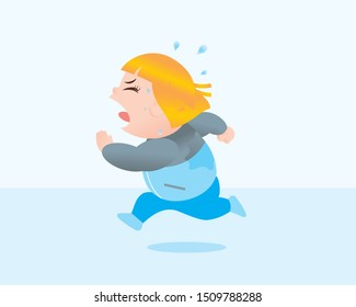 Funny vector illustration of fat woman running excercising. Concept of Strong healthy fat woman. cartoon