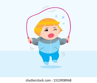 Funny vector illustration of fat woman  rope jumping excercising. Concept of Strong healthy fat woman. cartoon