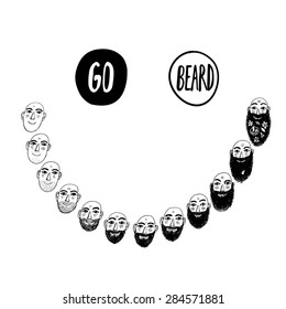 Funny vector illustration of growing beard with smile. Isolated editable objects.Nice sketchy drawing for print design