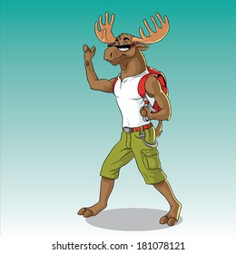 Funny vector illustration of a moose hiking and saying hello.