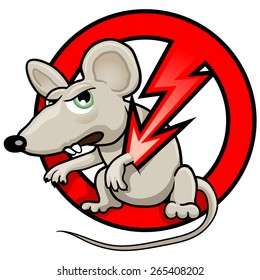 "Funny Vector Illustration: ""NO RATS"" Symbol. Pest Control Sticker. Isolated Cartoon Rat in the Red Circle. Angry Mouse on White"