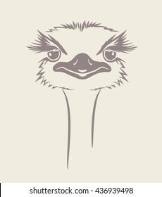 funny vector illustration of an ostrich. For t-shirt, poster, print design