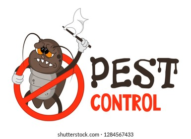 Funny vector illustration of pest control logo for fumigation business. Comic locked cockroach surrenders. Design for print, emblem, t-shirt, sticker, logotype, corporate identity, icon.