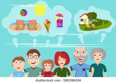 Funny vector illustration of wishes for summer holiday. The family with father, mother and two children and the grandparents think of the summer holidays