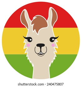 Funny vector lama with  Bolivia flag on the background.